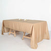 60x126 Natural Linen Rectangular Tablecloth, Slubby Textured Wrinkle Resistant Tablecloth