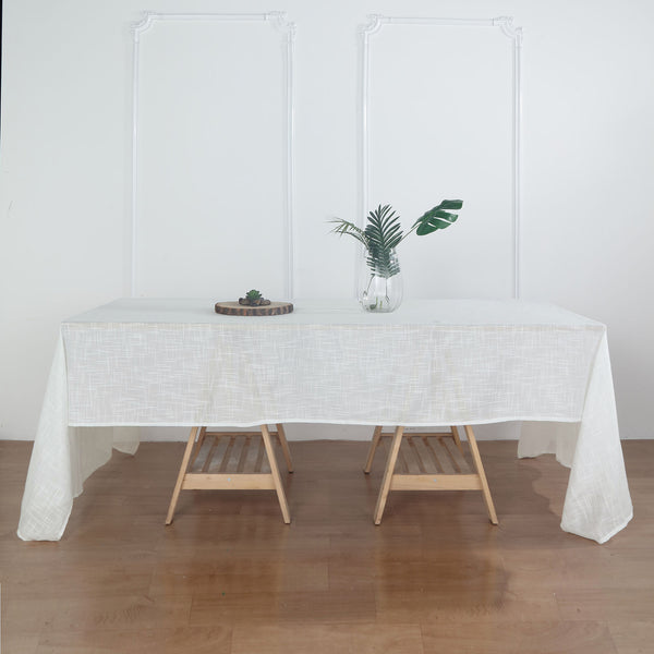 "60""x126"" White Linen Rectangular Tablecloth, Slubby Textured Wrinkle Resistant Tablecloth"
