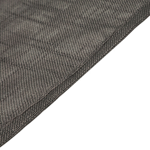 90x132 Charcoal Gray Linen Rectangular Tablecloth, Slubby Textured Wrinkle Resistant Tablecloth
