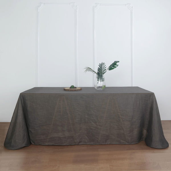 "90""x132"" Charcoal Gray Linen Rectangular Tablecloth, Slubby Textured Wrinkle Resistant Tablecloth"