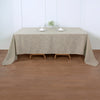 90x132 Beige Linen Rectangular Tablecloth, Slubby Textured Wrinkle Resistant Tablecloth