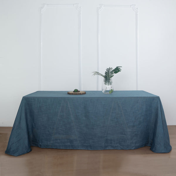 "90""x132"" Blue Linen Rectangular Tablecloth, Slubby Textured Wrinkle Resistant Tablecloth"