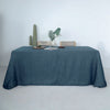 90x132 Blue Linen Rectangular Tablecloth, Slubby Textured Wrinkle Resistant Tablecloth