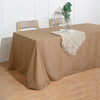 90x132 Natural Linen Rectangular Tablecloth, Slubby Textured Wrinkle Resistant Tablecloth