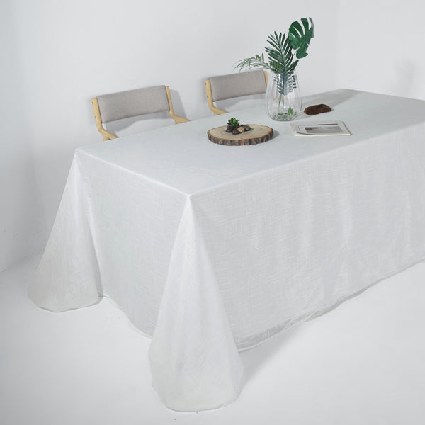 "90""x156"" White Rectangular Tablecloth, Linen Table Cloth With Slubby Textured, Wrinkle Resistant"