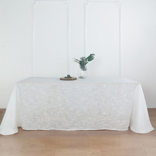 "90""x132"" White Linen Rectangular Tablecloth, Slubby Textured Wrinkle Resistant Tablecloth"