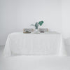 90x132 White Linen Rectangular Tablecloth, Slubby Textured Wrinkle Resistant Tablecloth