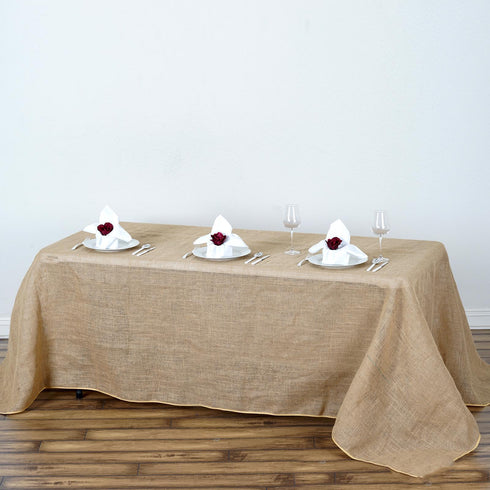"90x132"" Natural Tone Chambury Casa Rustic Burlap Rectangle Tablecloth"