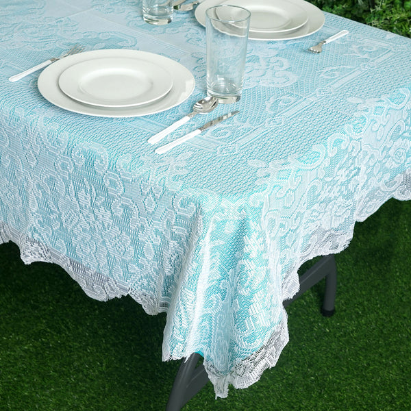 "54""x72"" Premium Lace White Rectangular Oblong Tablecloth"