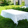 "60""X126"" Premium Lace White Rectangular Oblong Tablecloth"
