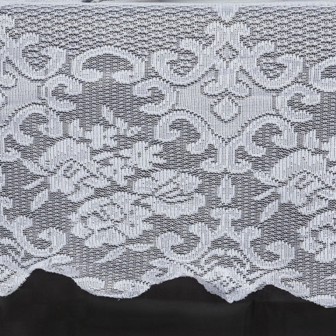 "Floral Lace Tablecloth 60"" x 126"" - White"