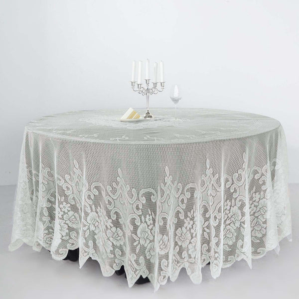 "108"" Premium Lace Ivory Round Tablecloth"