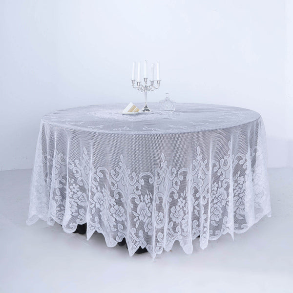 "108"" Premium Lace White Round Tablecloth"