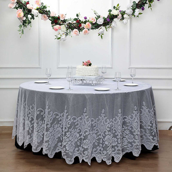 "120"" Premium Lace White Round Tablecloth"