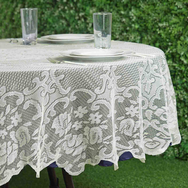 "70"" Premium Lace Ivory Round Tablecloth"