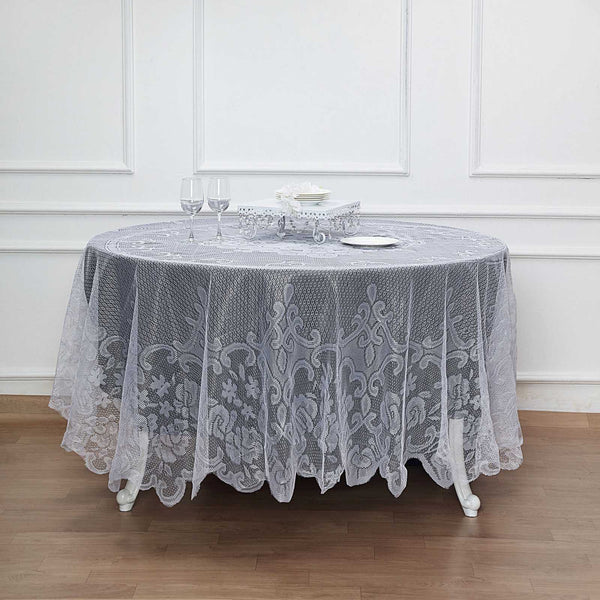 "90"" Premium Lace White Round Tablecloth"