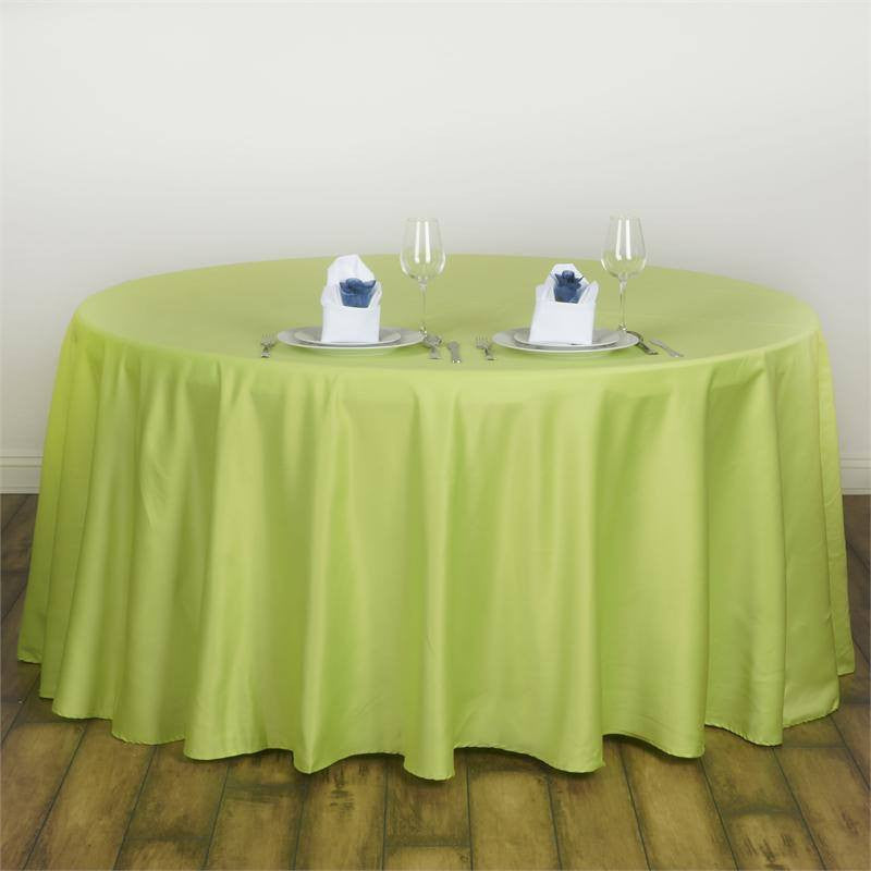 "Apple Green 120"" Lamour Round Tablecloths"