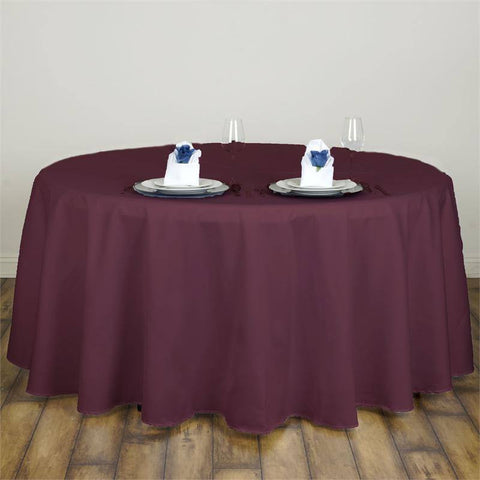 "Burgundy 120"" Lamour Round Tablecloths"