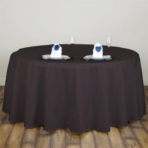 "Chocolate 120"" Lamour Round Tablecloths"