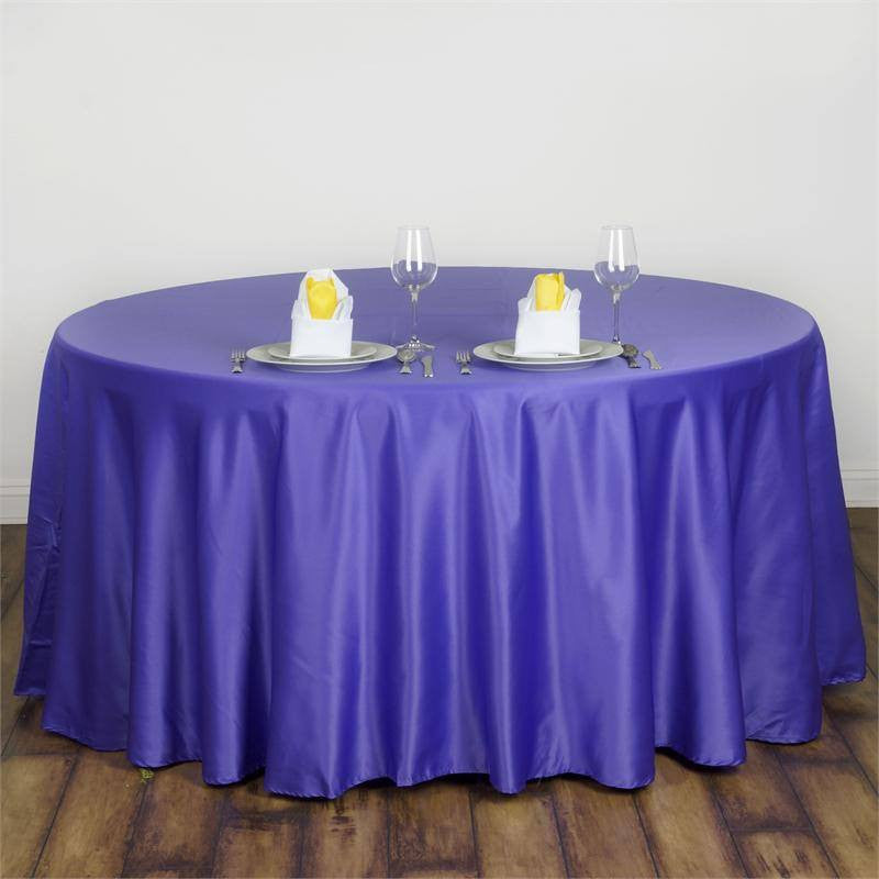 "Purple 120"" Lamour Round Tablecloths"