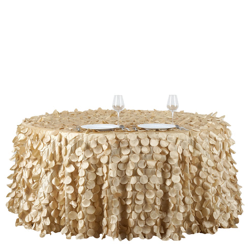 "120"" Champagne Round Flamingo Petals Tablecloth"