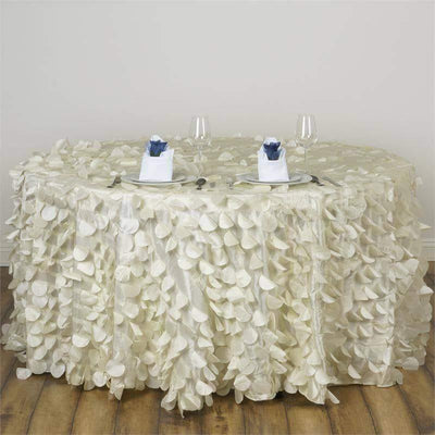 "120"" Ivory Round Flamingo Petals Tablecloth For Wedding Banquet Restaurant"