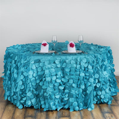 "120"" Turquoise Round Flamingo Petals Tablecloth"