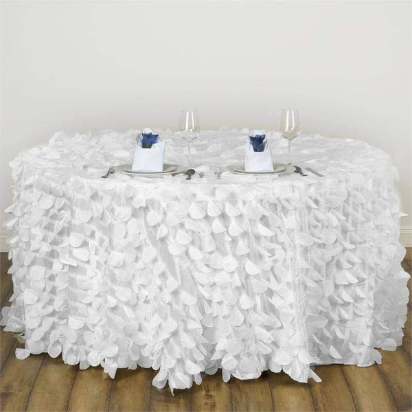 "120"" White Round Flamingo Petals Tablecloth"