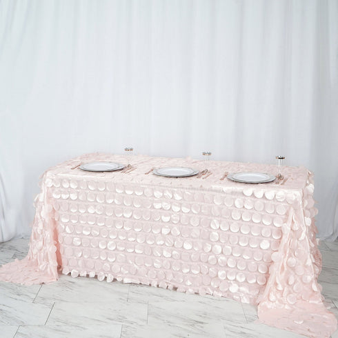 "90x132"" Blush - Rose Gold Flamingo Petals Taffeta Rectangle Tablecloth"