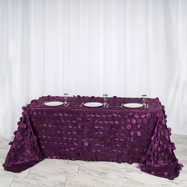 "90""x132"" Eggplant Flamingo Petals Taffeta Rectangle Tablecloth"