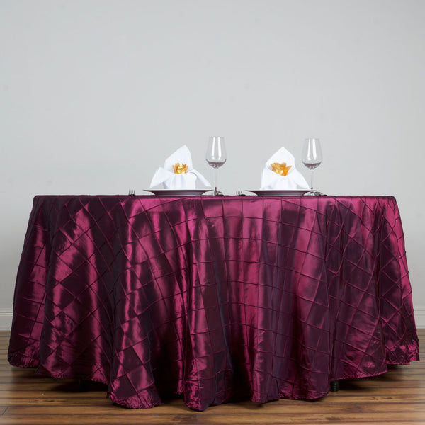 "108"" Burgundy Round Pintuck Tablecloth"