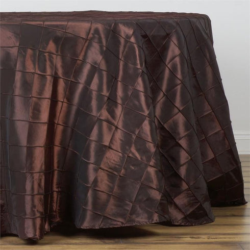 "Chocolate Pintuck Tablecloths 108"" Round"