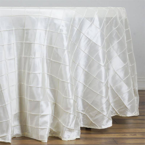 "Ivory Pintuck Tablecloths 108"" Round"