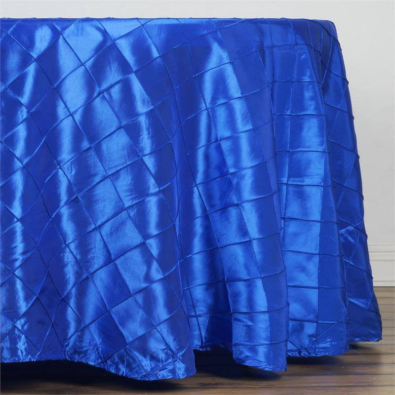 "Royal Blue Pintuck Tablecloths 108"" Round"