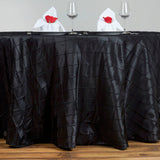 "Black Pintuck Tablecloths 120"" Round"
