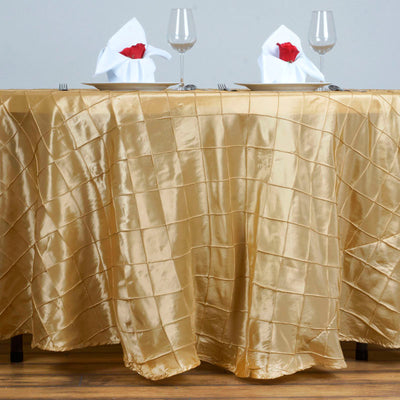 "Champagne Pintuck Tablecloths 120"" Round"