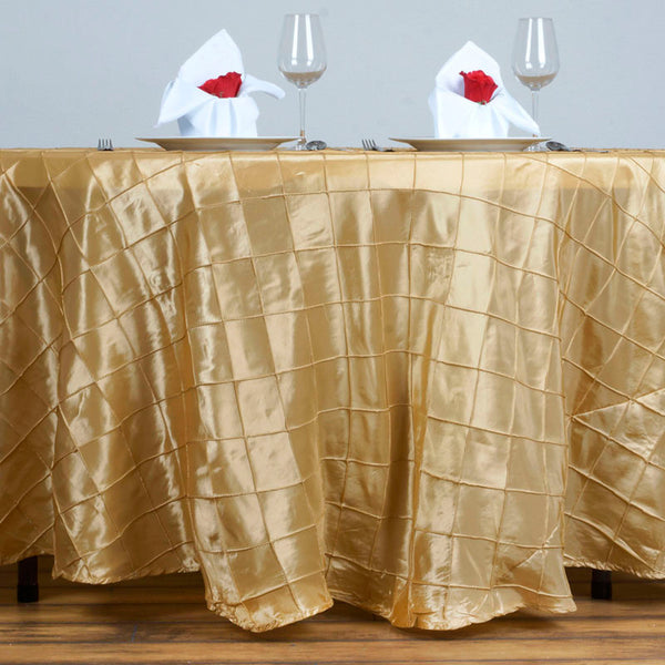 "120"" Champagne Pintuck Round Tablecloth"