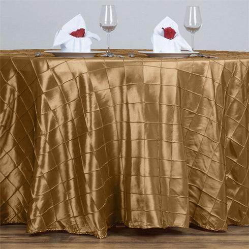 "Gold Pintuck Tablecloths 120"" Round"