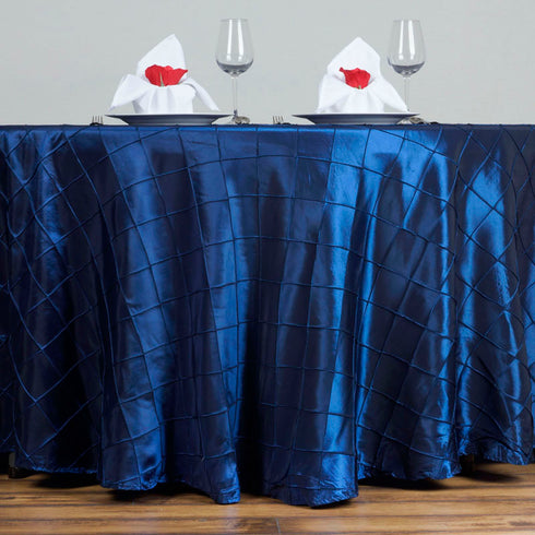 "Navy Blue Pintuck Tablecloths 120"" Round"