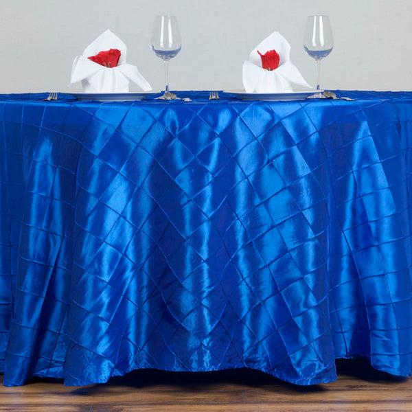 "120"" Royal Blue Pintuck Round Tablecloth"