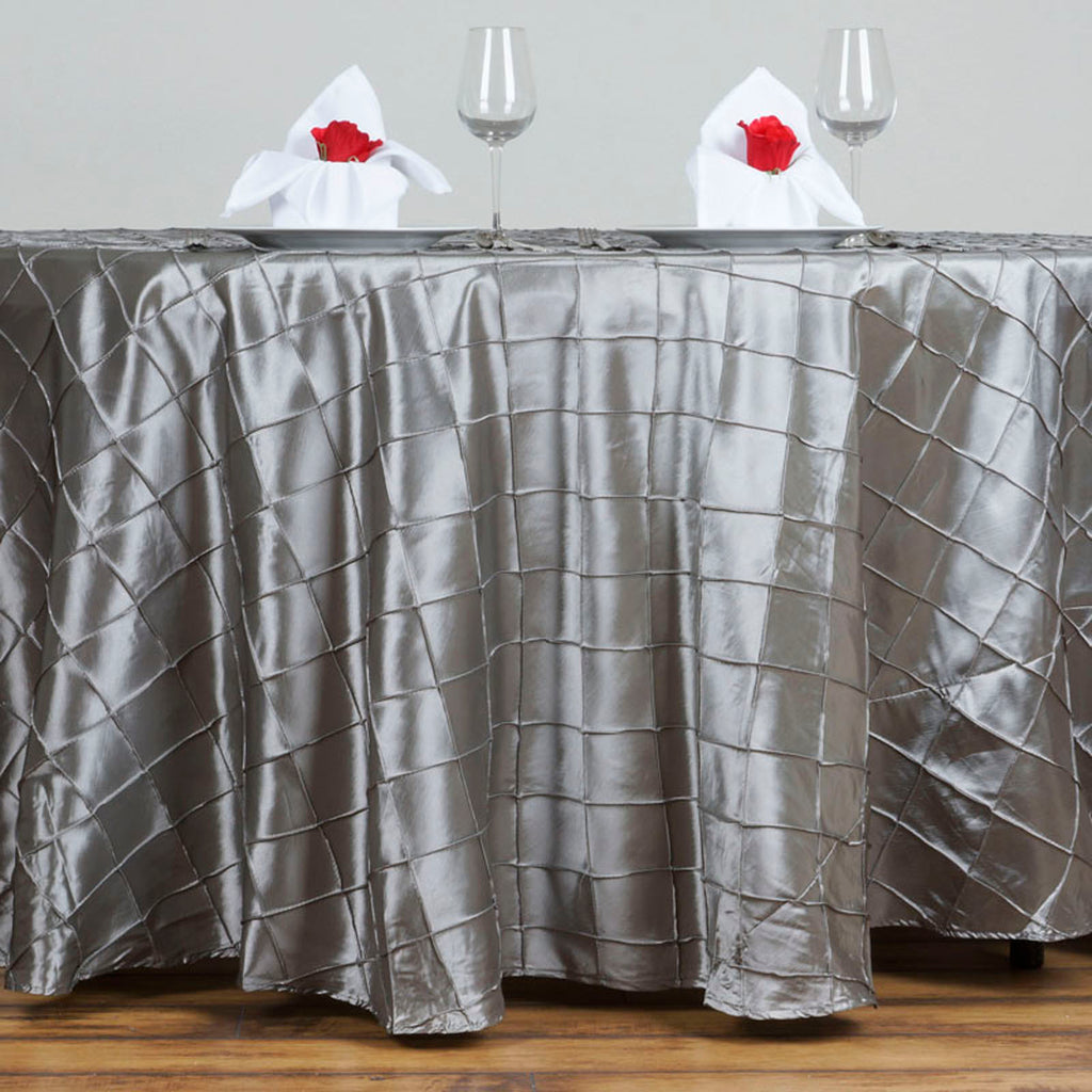 "Silver Pintuck Tablecloths 120"" Round"