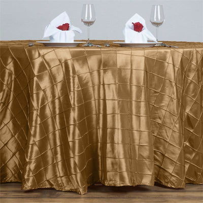 "Gold Pintuck Tablecloths 132"" Round"