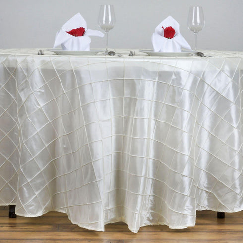 "132"" Ivory Round Pintuck Tablecloth"