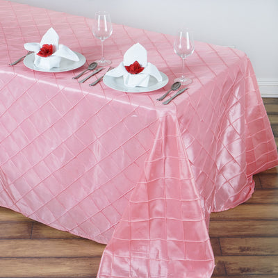 "90"" x 132"" Rose Quartz Taffeta Pintuck Rectangular Tablecloth"