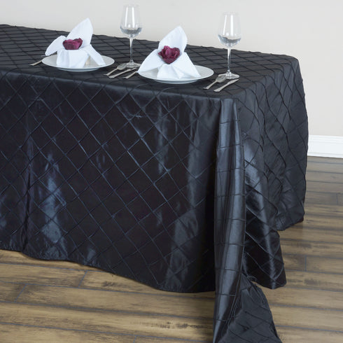 "90"" x 132"" Taffeta Pintuck Tablecloth - Black"