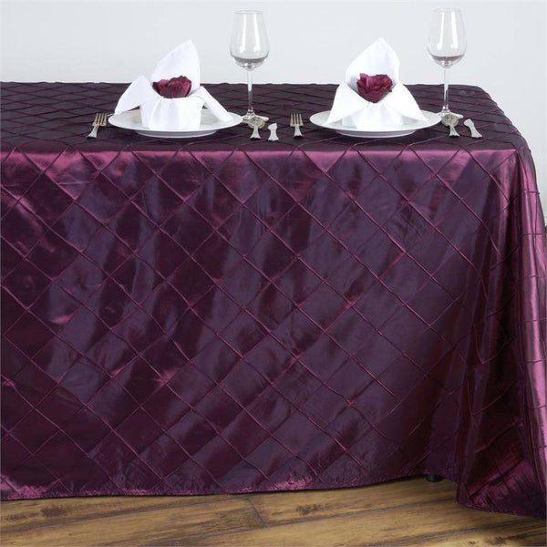 "90"" x 132"" Burgundy Taffeta Pintuck Rectangular Tablecloth"
