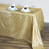 "90"" x 132"" Champagne Taffeta Pintuck Tablecloths For Catering Wedding Party Decorations"