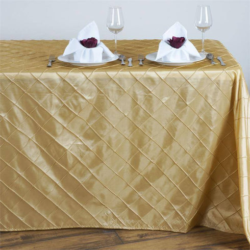 "Champagne 90x132"" Pintuck Tablecloths"