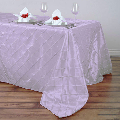 "90"" x 132"" Lavender Taffeta Pintuck Rectangular Tablecloth"