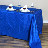 "90"" x 132"" Royal Blue Taffeta Pintuck Tablecloths For Catering Wedding Party Decorations"
